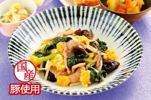 豚肉と小松菜の卵炒め